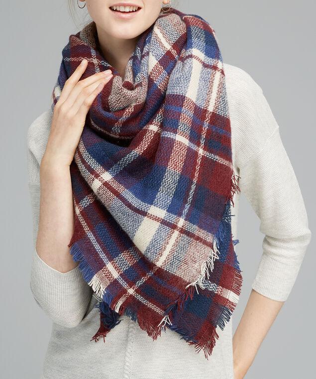plaid blanket scarf, BURGUNDY COMBO, hi-res