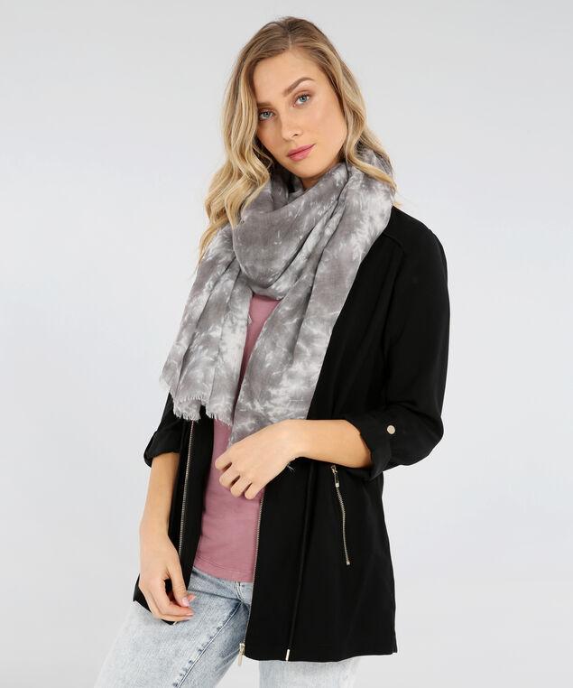 tie dye scarf, GREY, hi-res