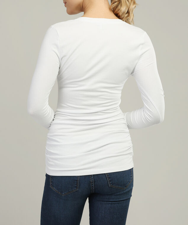 jenny ruched long sleeve core, WHITE, hi-res