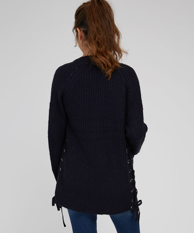 lace up side cardigan - wb, DARK STORM, hi-res