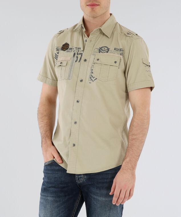 button down shirt , BEIGE, hi-res