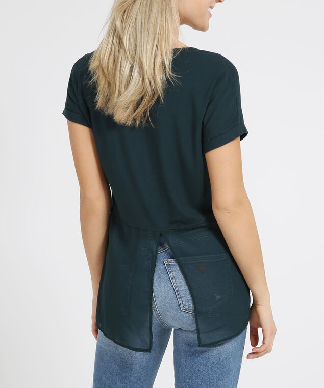 v-neck chiffon back tee - wb, FOREST GREEN, hi-res