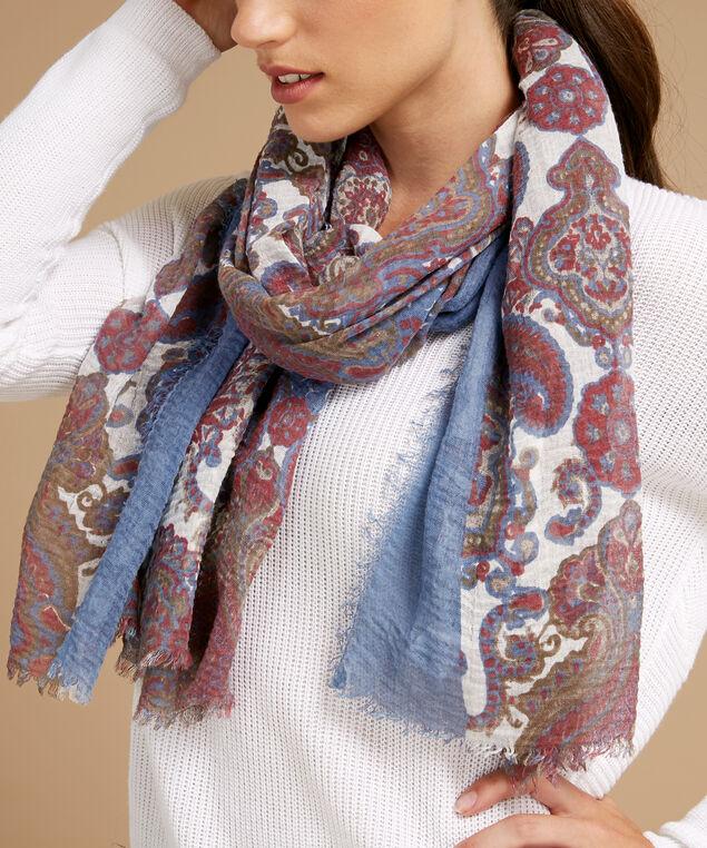 paisley scarf, BLUE WINE, hi-res