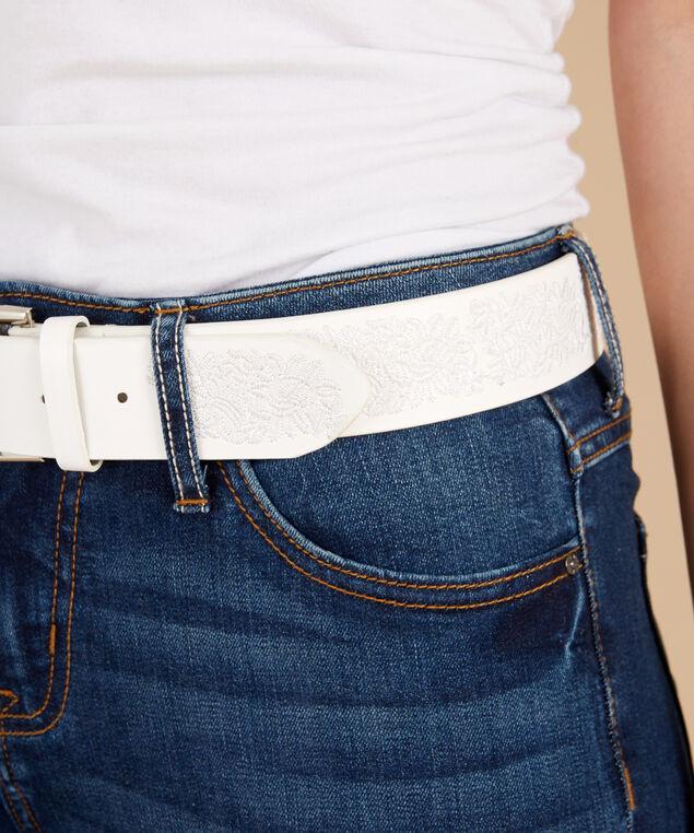 white embroidery belt, WHITE, hi-res
