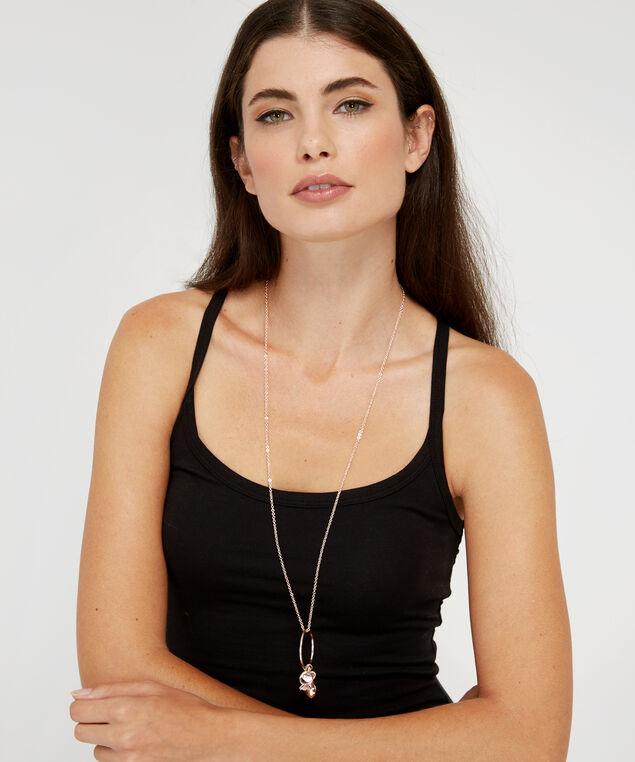 rose gold cluster charm necklace, ROSE GOLD, hi-res