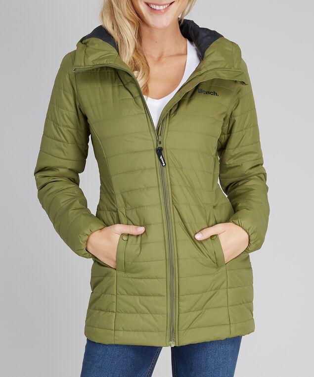 puffer jacket with hood - wb, OLIVE BLACK, hi-res