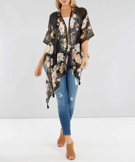 large floral kimono with tassels, BLACK, hi-res