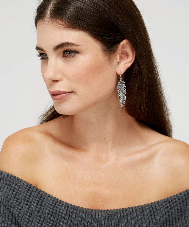 feather earrings, SILVER, hi-res