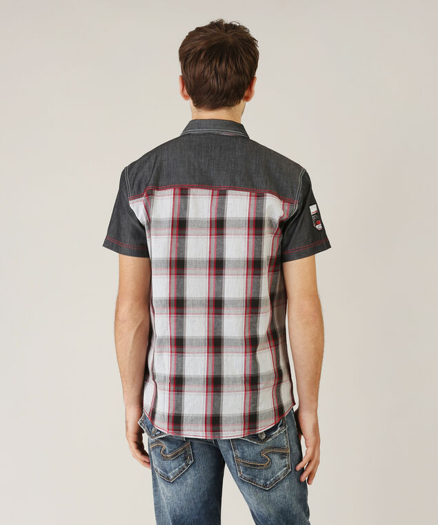 shirt with contrast pocket - wb, RED/GREY PLAID, hi-res