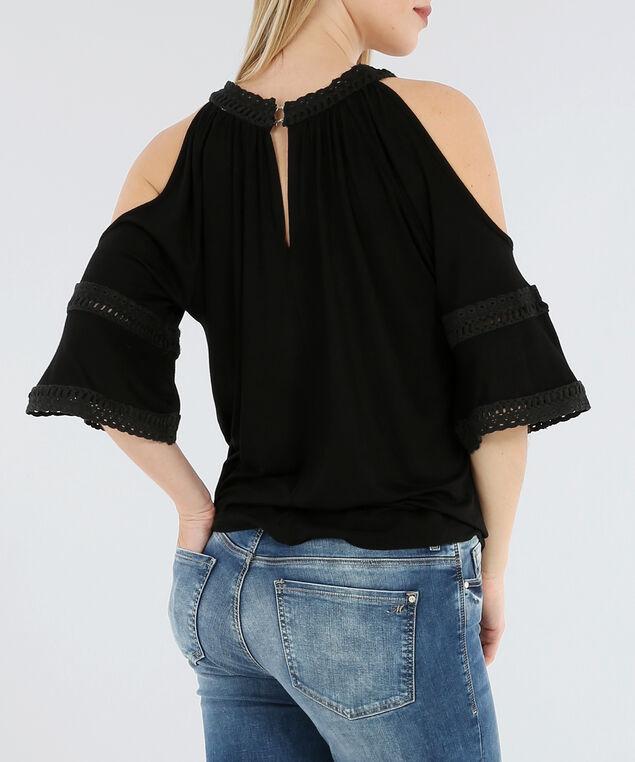 crochet cold shoulder - wb, BLACK, hi-res