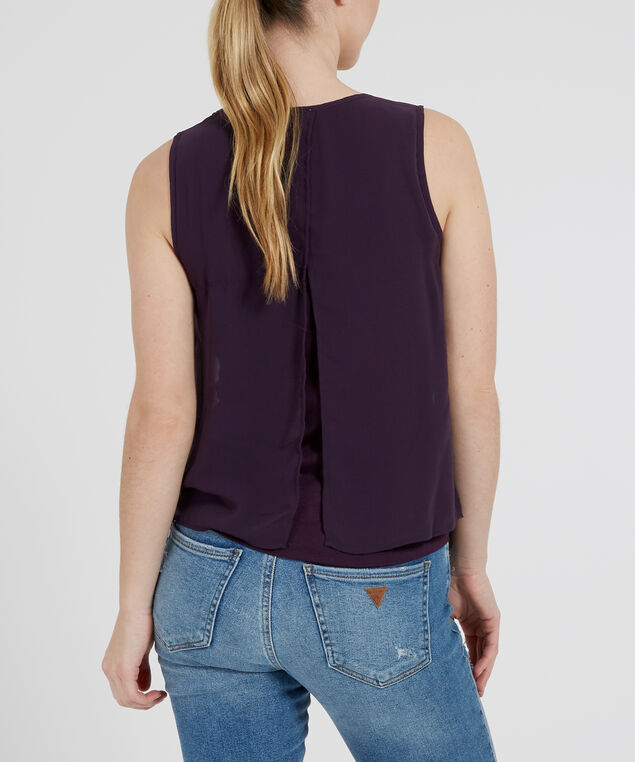 knit lined top with necklace - wb, EGGPLANT, hi-res