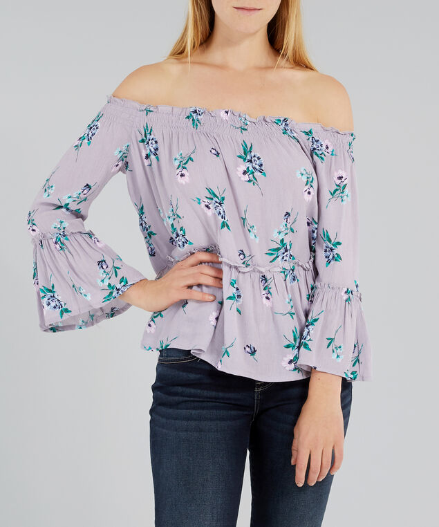 off the shoulder top with ruffles - wb, FRESH FLORAL, hi-res
