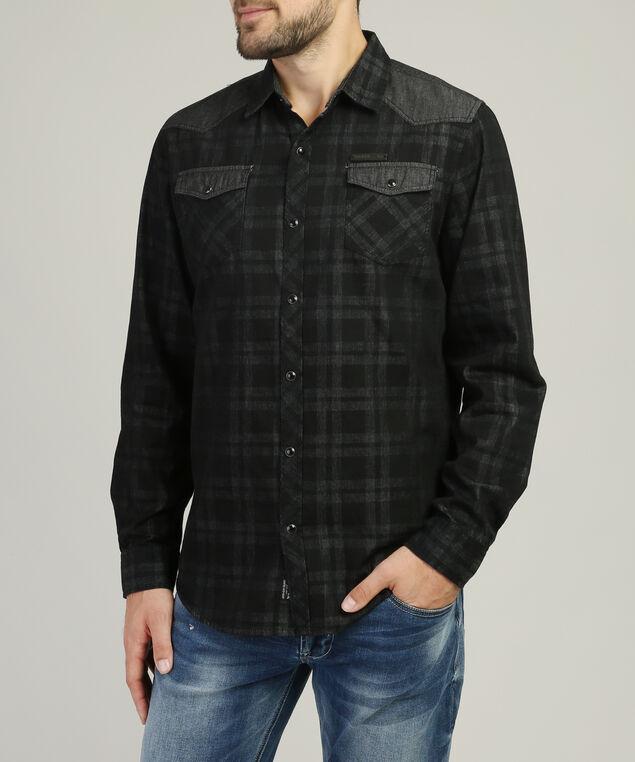 plaid shirt with shoulder detail - wb, BLACK, hi-res