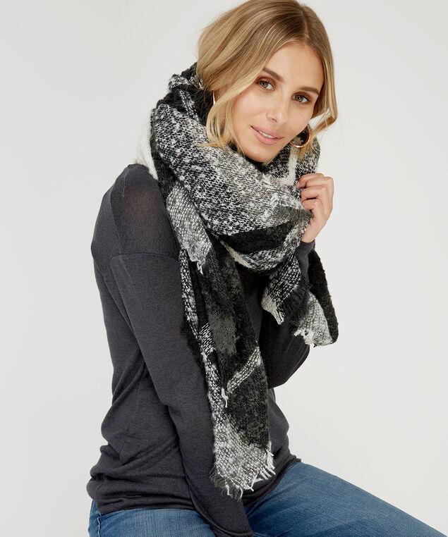 soft & cozy blanket plaid scarf, BLACK, hi-res