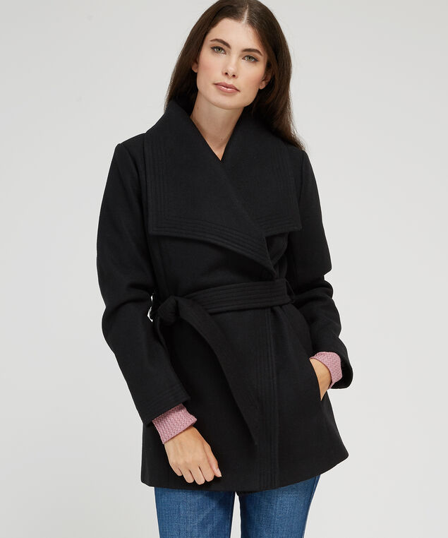 oversized collar wool coat - wb, BLACK, hi-res