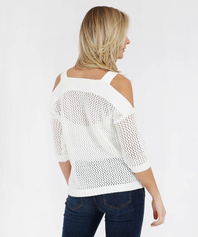 cold shoulder sweater - wb, IVORY, hi-res