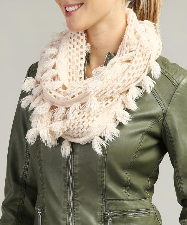 loose knit infinity scarf, CREAM, hi-res