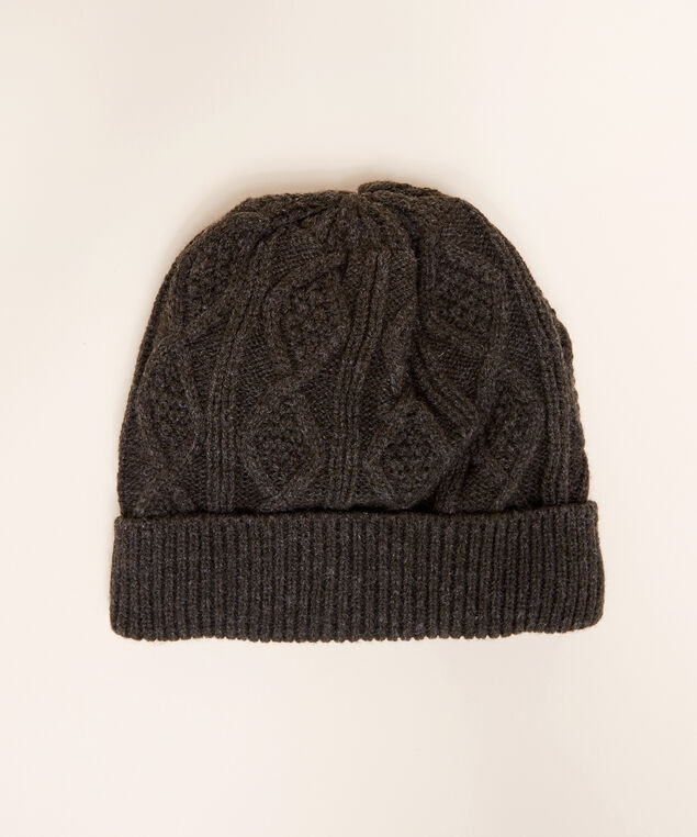 men's cable knit hat, CHARCOAL, hi-res