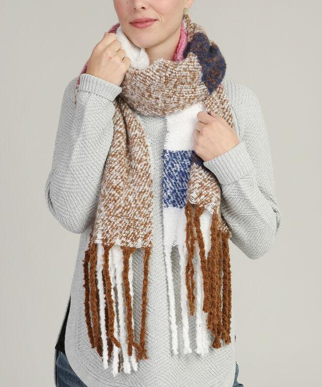 chunky fringe scarf, PINK/BURGUNDY, hi-res