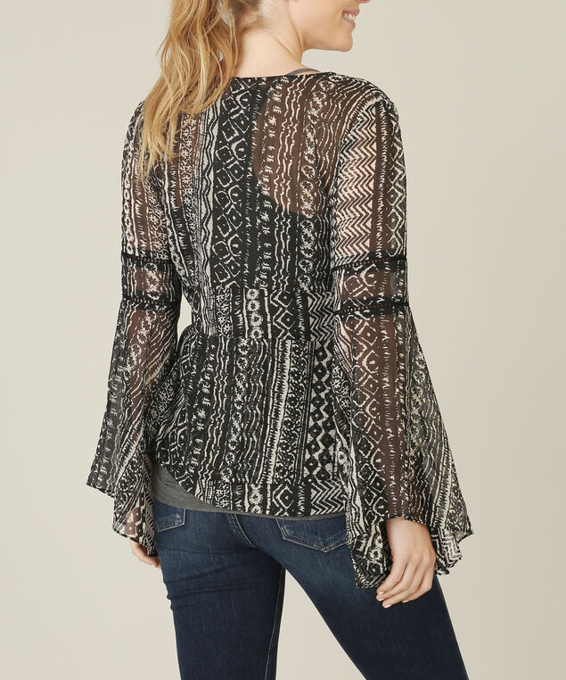 chiffon bell sleeve top - wb, BLACK PATTERN, hi-res