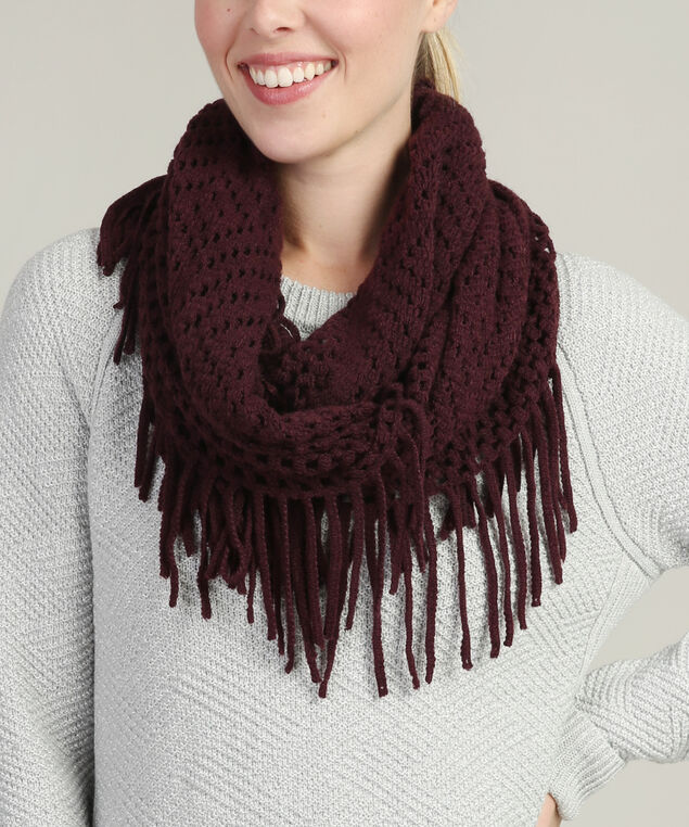 infinity loose knit scarf, CURRANT, hi-res