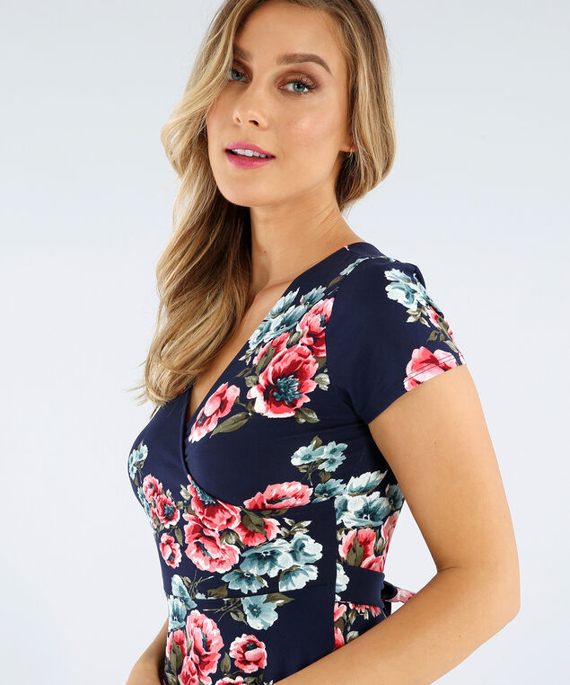 wrap dress with tie, NAVY FLORAL, hi-res
