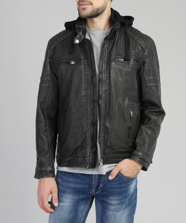 vegan leather jacket with hood, CHARCOAL, hi-res