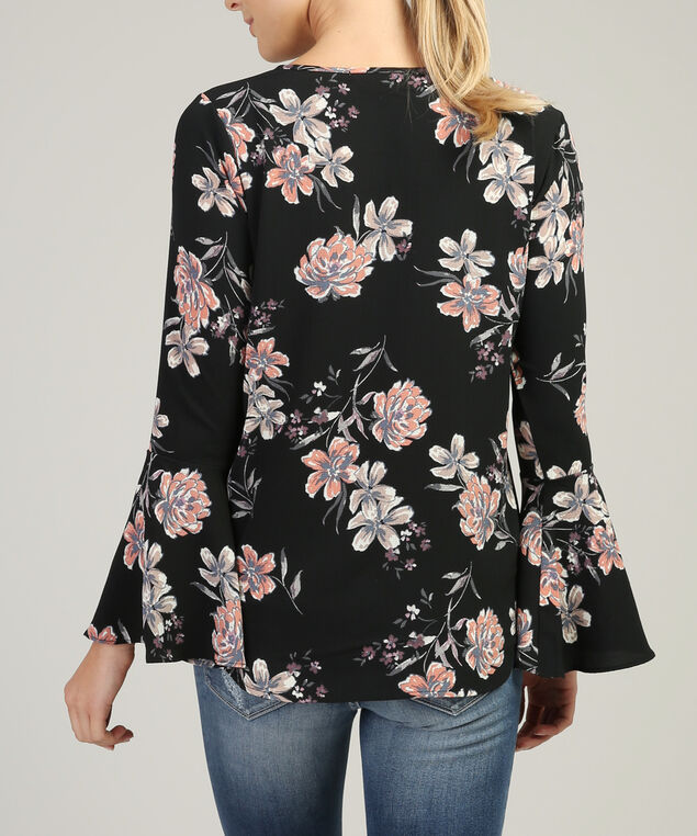 lace up bell sleeve top - wb, BLACK FLORAL, hi-res