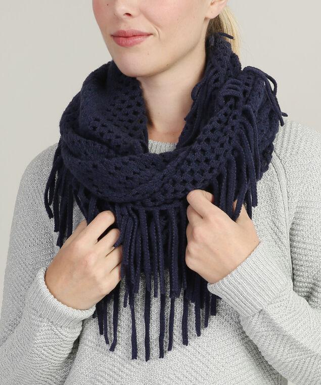 infinity loose knit scarf, NAVY, hi-res