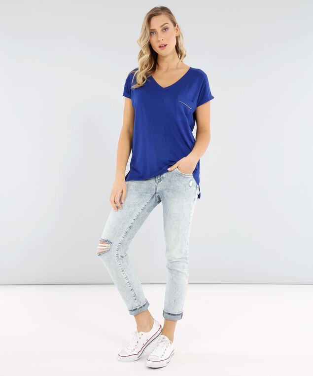 v-neck tee with zipper pocket - wb, TRUE BLUE, hi-res