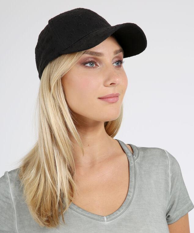 eyelet lace cap, BLACK, hi-res