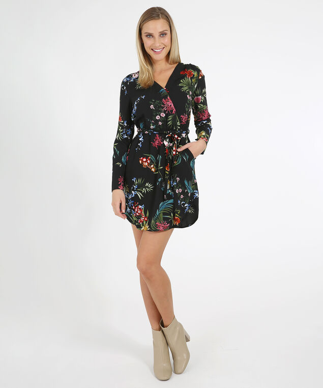 wrap dress - wb, BLACK FLORAL, hi-res
