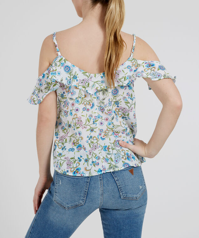flutter sleeve top - wb, FLOWER PRINT, hi-res