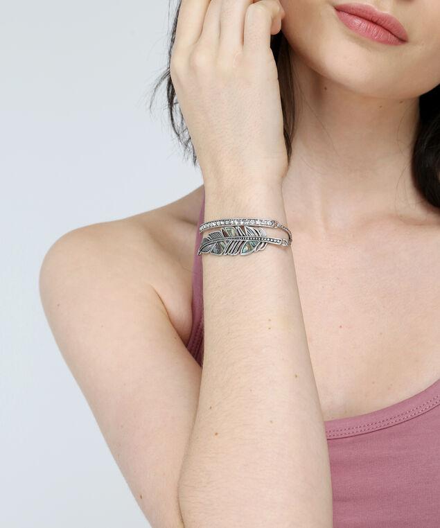 silver leaf & crystal bracelet set, SILVER, hi-res