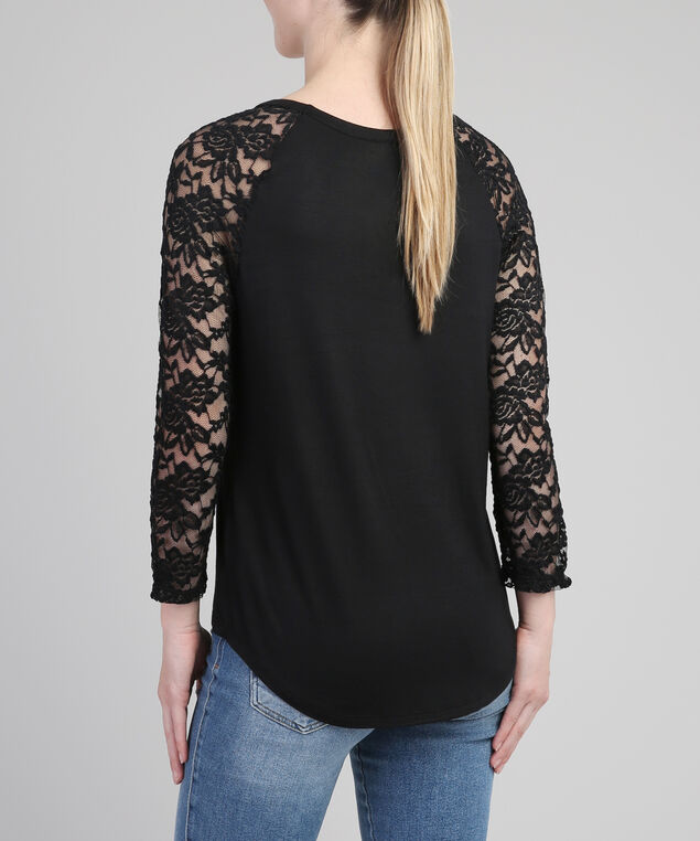 3/4 lace sleeve tee, BLACK FLORAL, hi-res