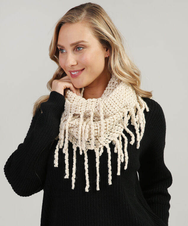 infinity scarf with large fringe, OATMEAL, hi-res