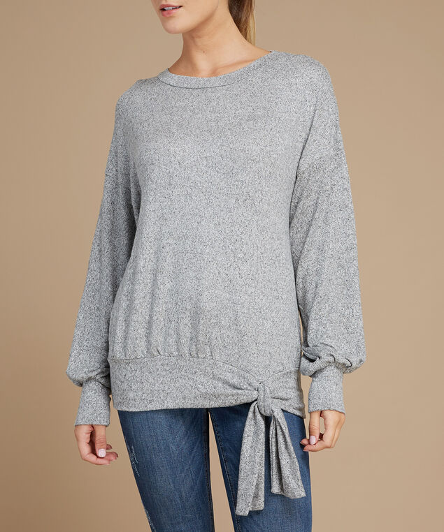 balloon sleeve pullover - wb, GREY, hi-res