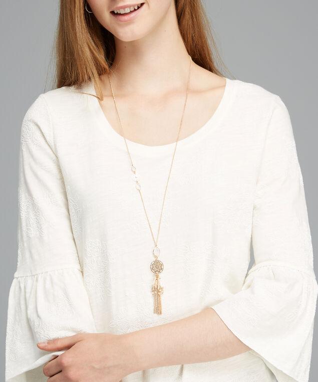 tassel pendant necklace, GOLD, hi-res