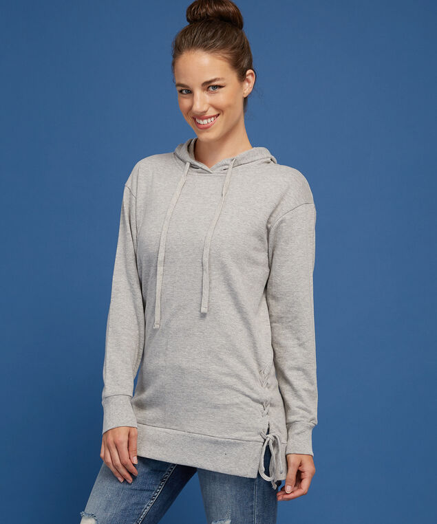 long hooded pullover - wb, GREY, hi-res