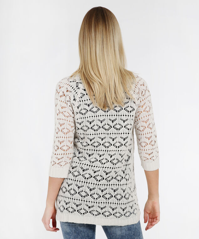 pointelle stitch cardigan - wb, LINEN, hi-res