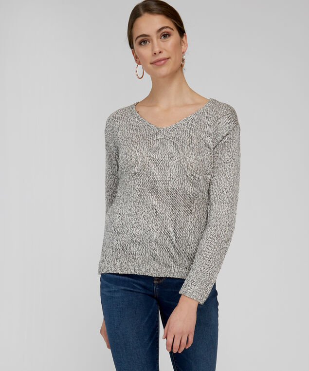 sweater with lace up back - wb, SILVER BIRCH, hi-res