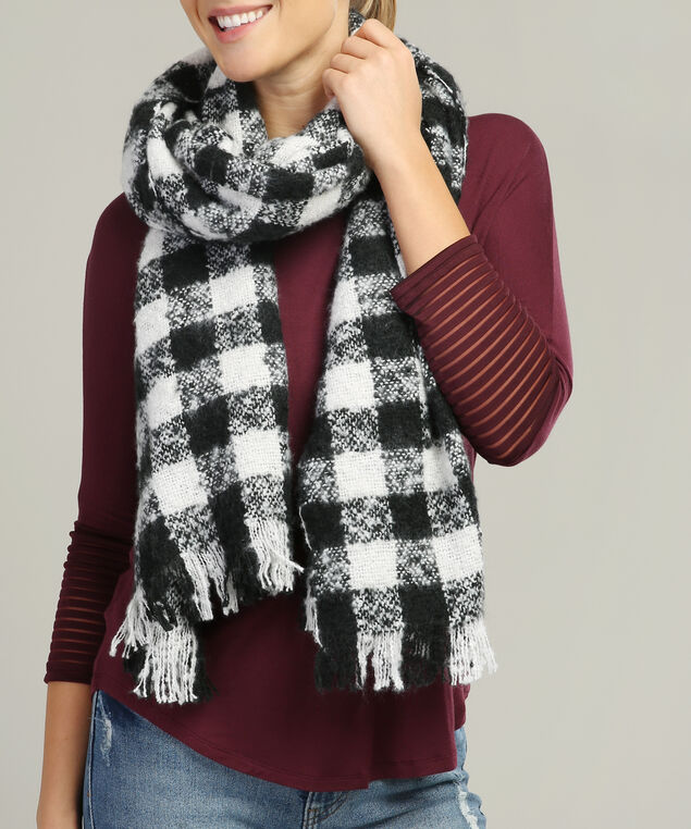 plaid blanket scarf, BLACK/WHITE, hi-res