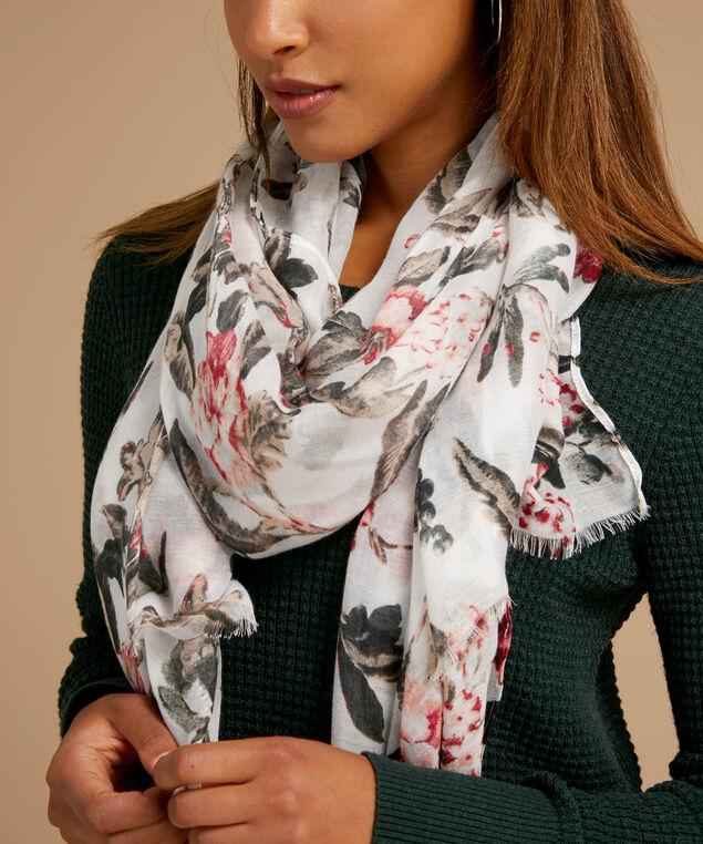 ivory blush floral scarf, IVORY BLUSH, hi-res