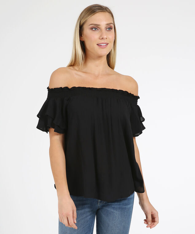 off shoulder fllutter sleeve - wb, BLACK, hi-res