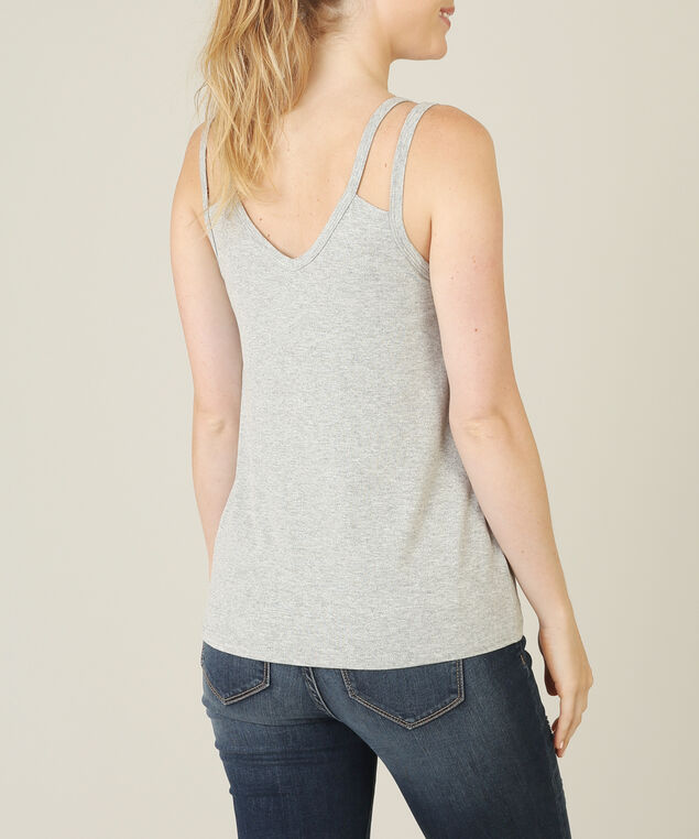 double strap tank, HEATHER GRY, hi-res