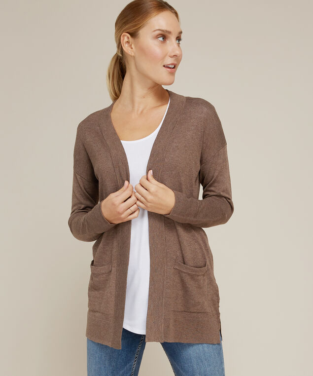 side slit cardigan - wb, MOCHA BISQ, hi-res