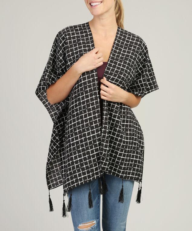 grid print kimono, BLACK, hi-res
