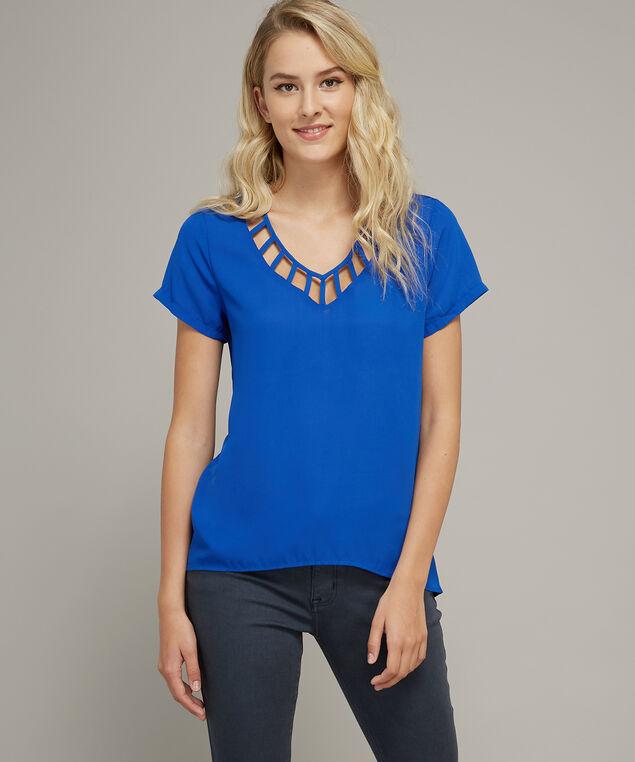 lattice neckline short sleeve top - wb, ROYAL, hi-res
