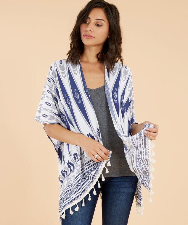 chevron print kimono, IVORY, hi-res