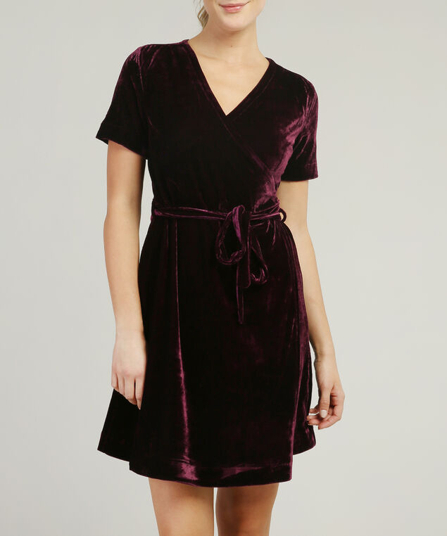 velvet tie waist dress - wb, BURGUNDY, hi-res